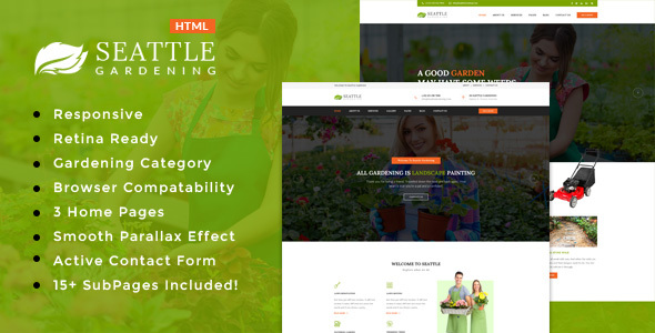Seattle Gardning - Gardening and Landscaping HTML Template - Business Corporate