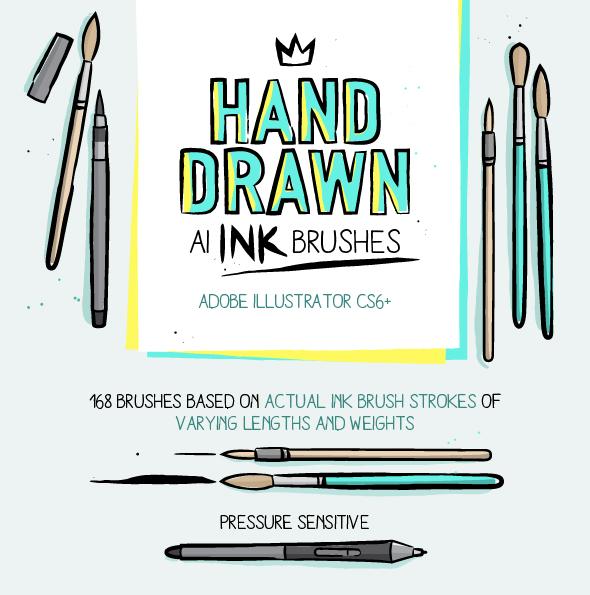 168 Illustrator Ink Brushes - Brushes Illustrator