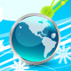 Original blue Christmas design with globe - GraphicRiver Item for Sale
