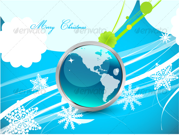Original blue Christmas design with globe - Christmas Seasons/Holidays