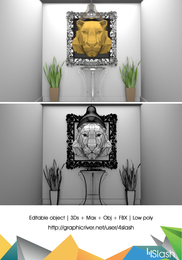 Lions Head in Polygons 3D Art - 3DOcean Item for Sale