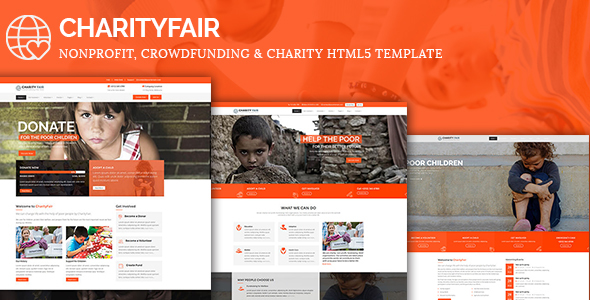 CharityFair – Nonprofit, Crowdfunding & Charity HTML5 Template