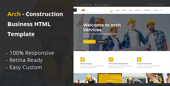 Arch- Construction, Building And Business HTML Template