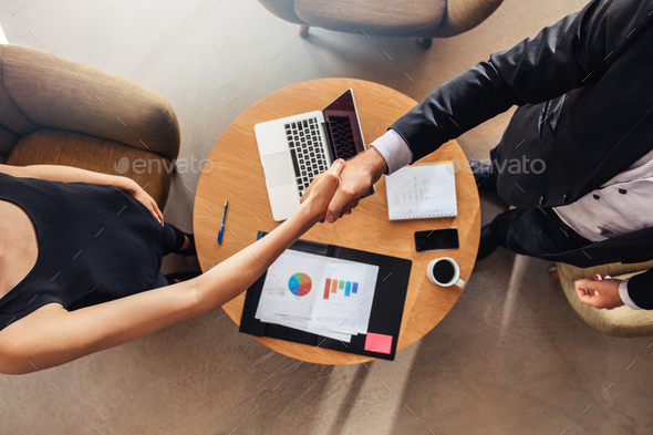 Hand shake at business meeting agreement sales - Stock Photo - Images