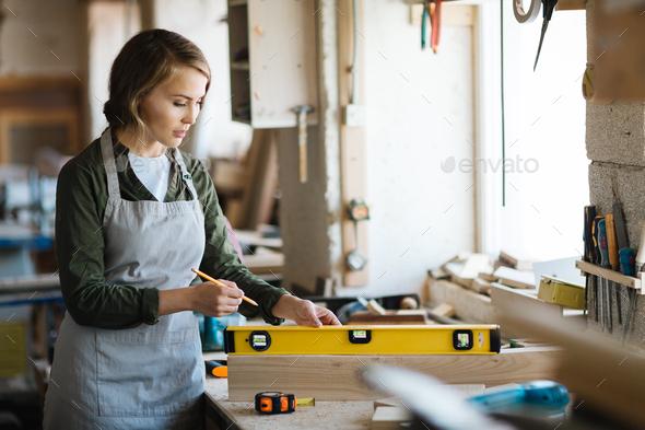 Female carpenter - Stock Photo - Images
