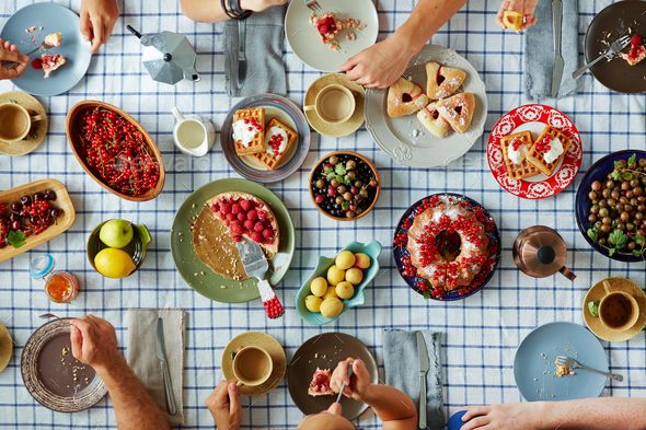 Eating festive food - Stock Photo - Images