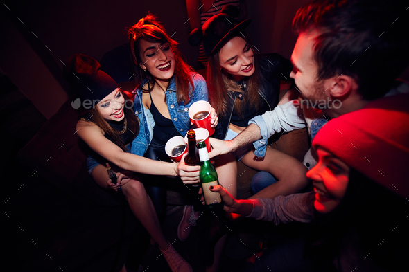 Young Girls Getting Drunk at Party - Stock Photo - Images