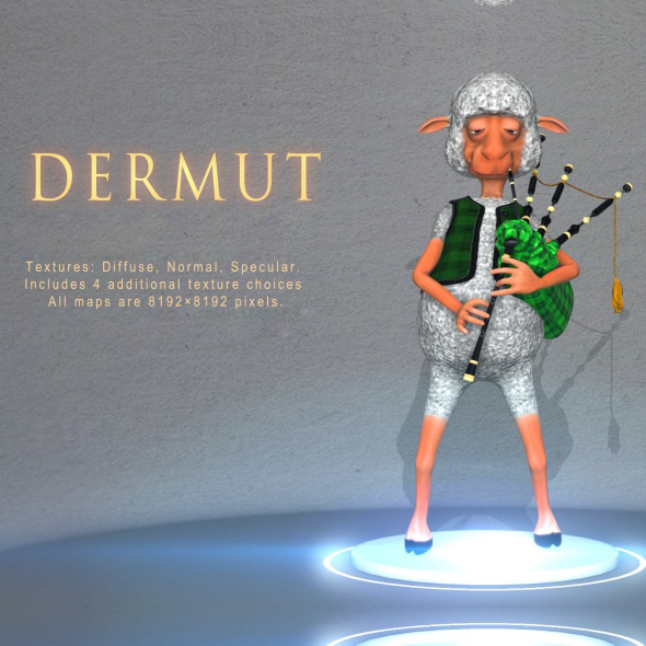 Dermut Sheep Bagpiper - 3DOcean Item for Sale