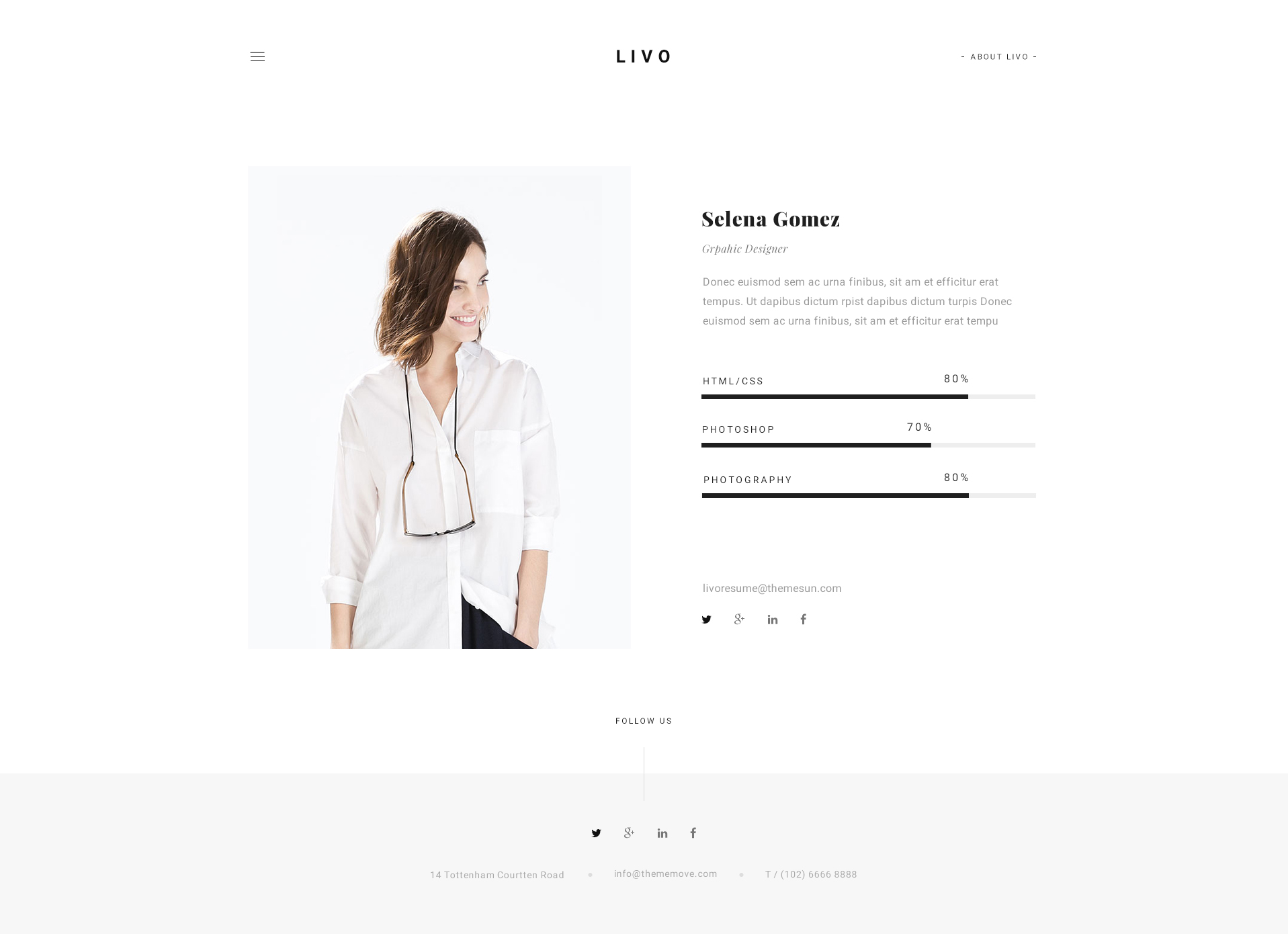 livo a clean minimal portfolio psd template by themesun
