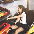 Girl Amusement Park Ride Fun Concept
