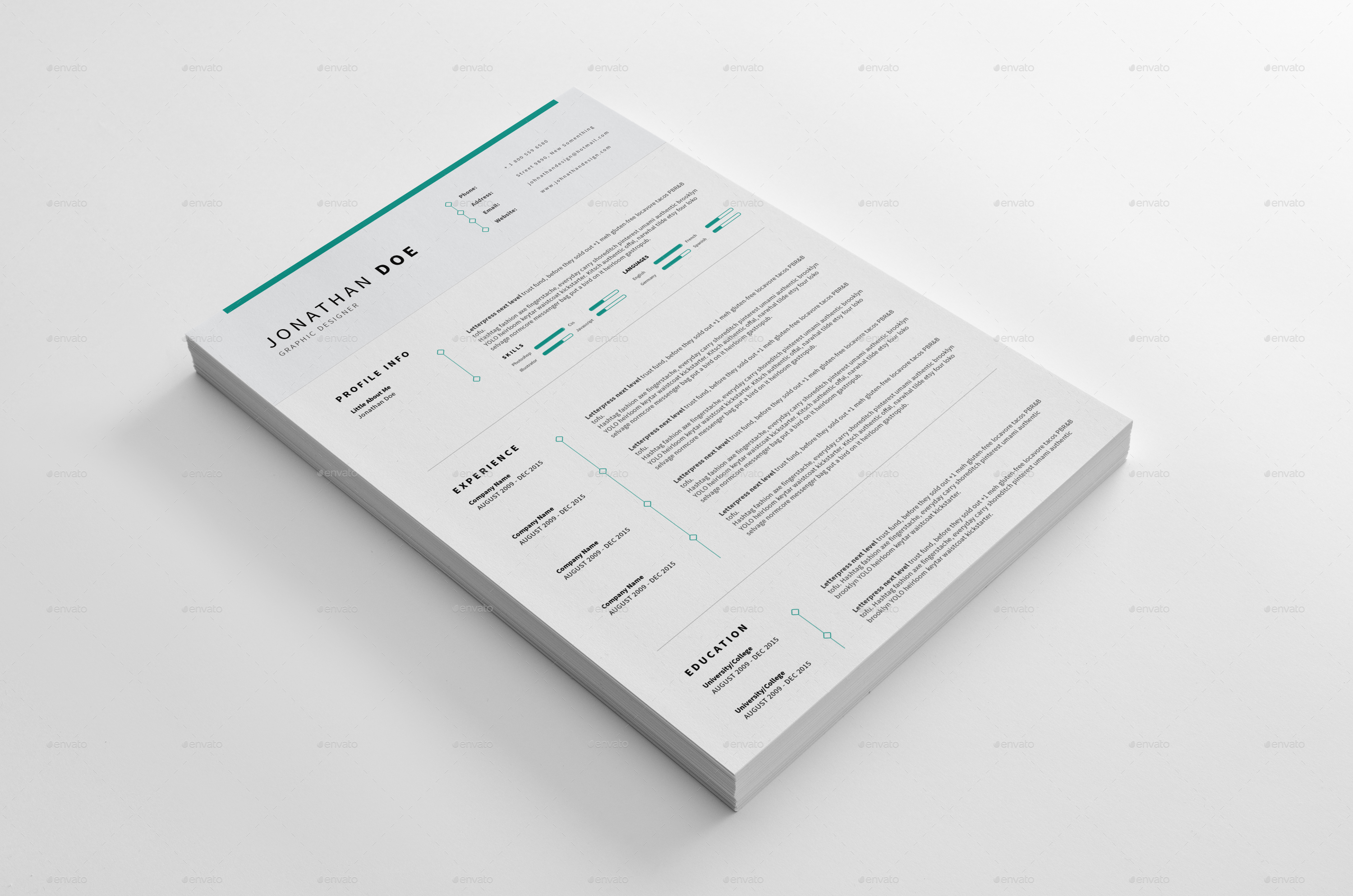 Cv Resume Clean And Minimal Print Ready By Pulsecolor Graphicriver