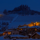 Houses and snowy hill in evening. - PhotoDune Item for Sale