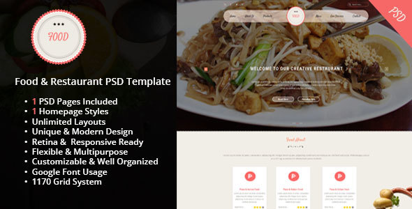 Food & Restaurant PSD Template