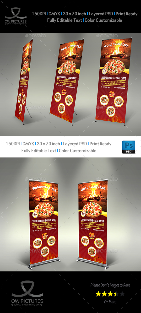 Pizza Restaurant Signage Roll Up Template Vol2