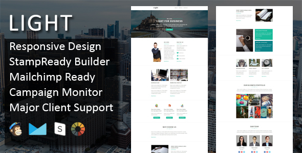 LIGHT - Multipurpose Responsive Email Template + Stampready Online Builder Access