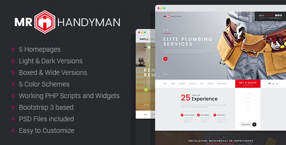 Mr.Handyman - Plumber, Carpenter, Roofing, Renovation HTML template - Business Corporate