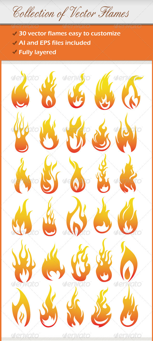 Collection Of Vector Flames - Decorative Vectors