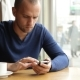 Businessman With Smartphone During Lunch In Cafe - VideoHive Item for Sale