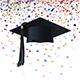 Graduate Cap on a Background of Multicolor Confetti - GraphicRiver Item for Sale