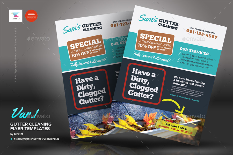 gutter cleaning flyer templates by kinzi21