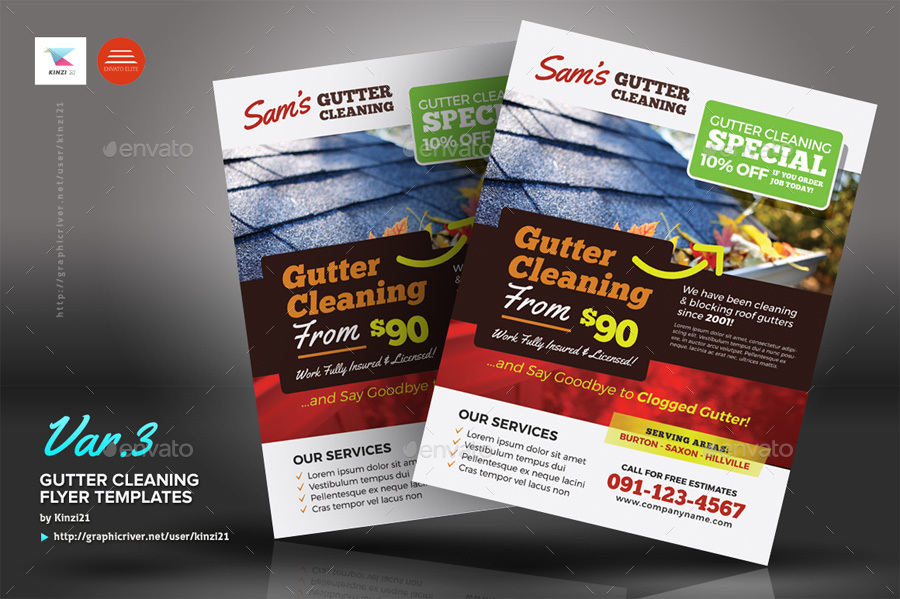 Gutter Cleaning Flyer Templates By Kinzi21 Graphicriver