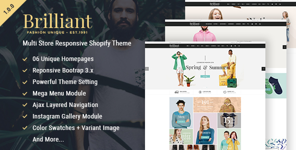 Brilliant – Multi Store Responsive Shopify Theme