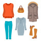 Women Winter Clothes Flat Style Design Elements - GraphicRiver Item for Sale