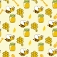 Seamless Pattern With Honey, Bees, Honeycomb, Drop - GraphicRiver Item for Sale