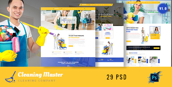 Clening Master – Cleaning Company PSD Template