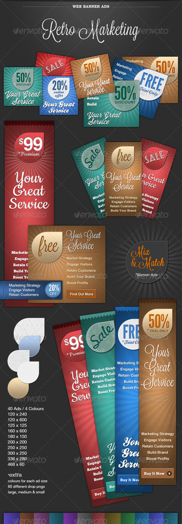Web Banner Ads - Retro Marketing - Banners & Ads Web Elements