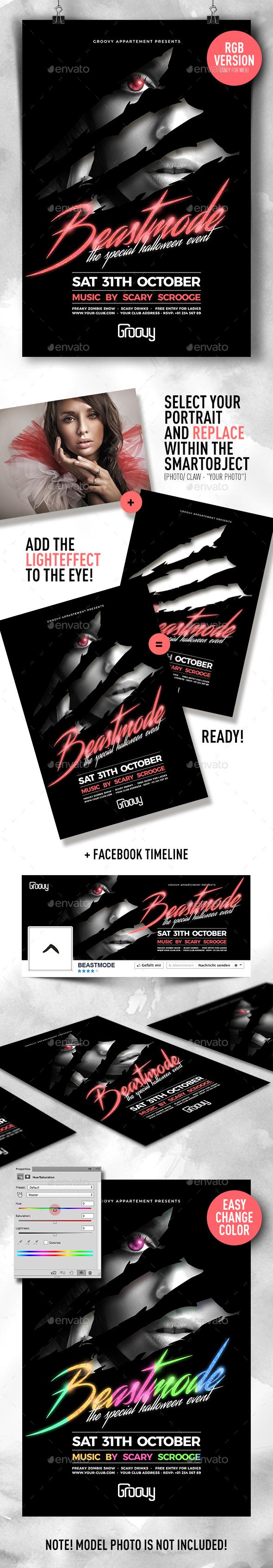 Beastmode Halloween Party Flyer