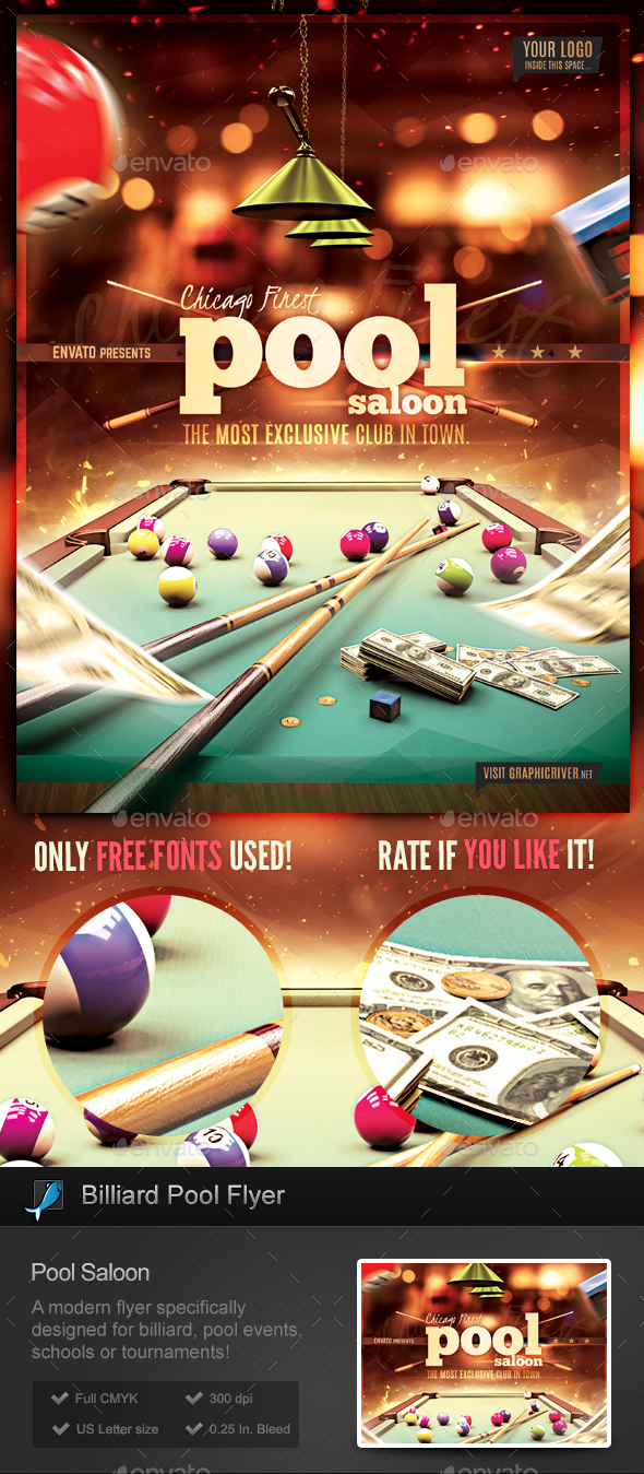 Pool billiard club flyer template by stormdesigns for Pool design templates