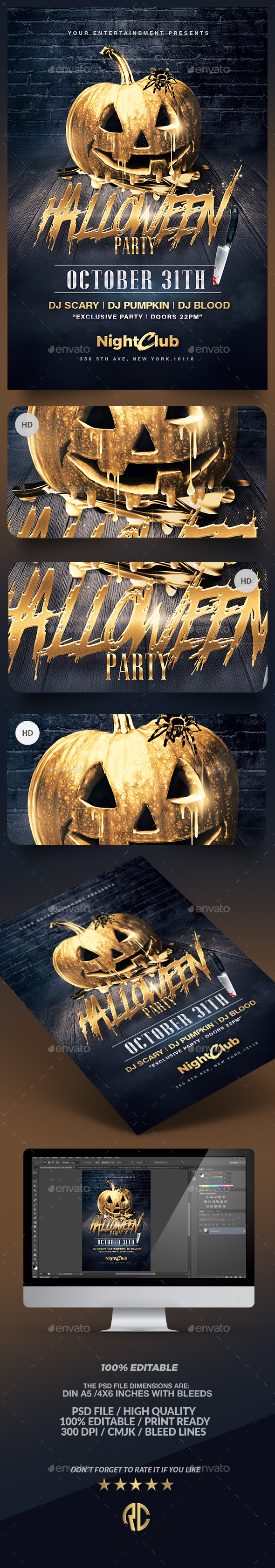 Halloween Party | Gold Pumpkin Template - Events Flyers
