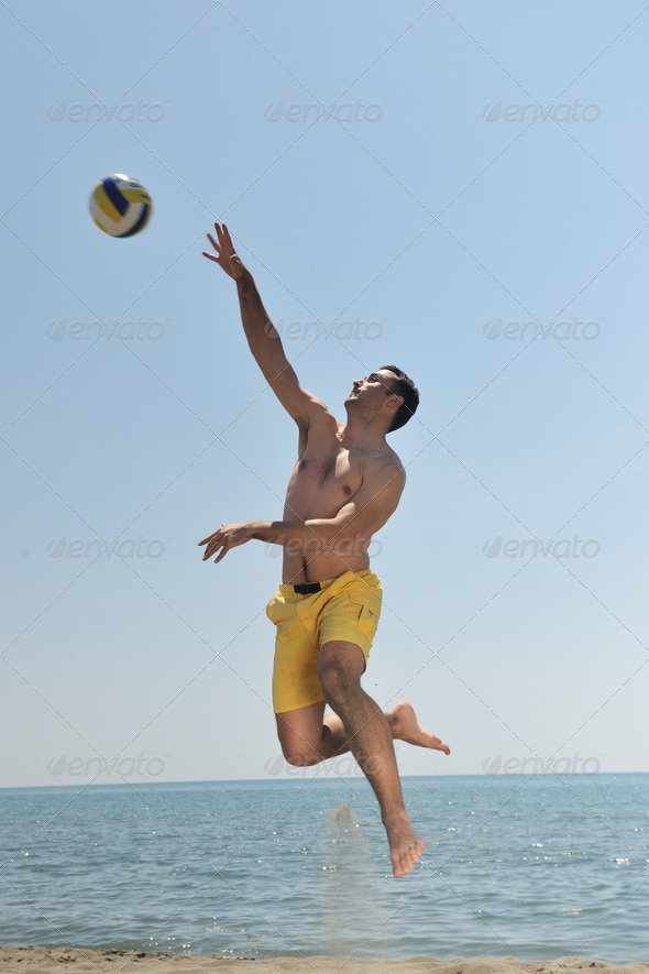 male beach volleyball game player - Stock Photo - Images