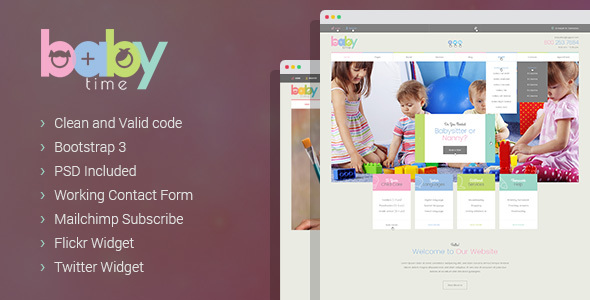BabyTime - Babysitter, Nurse and Preschool Education WordPress Theme