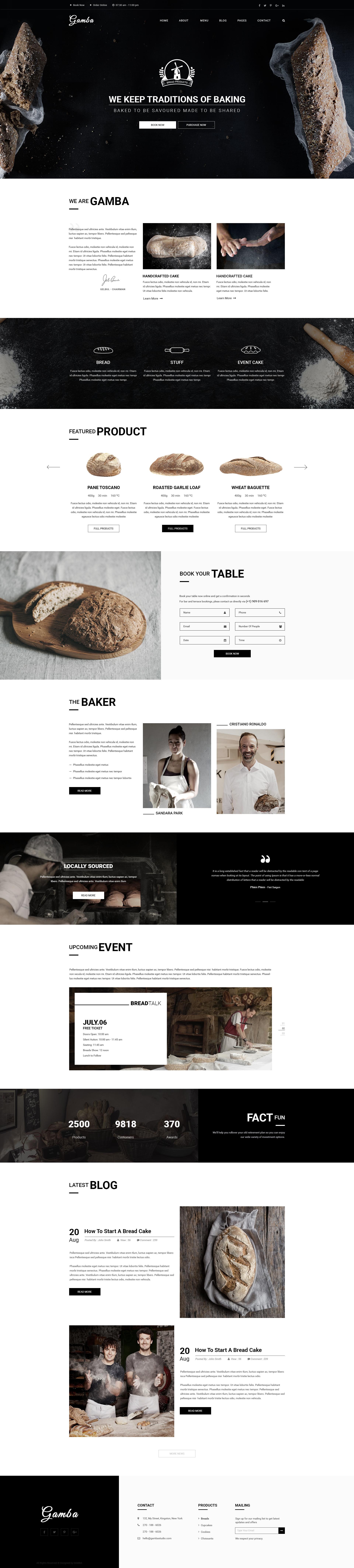 Gamba Bakery, Cakery, Pizza & Pastry Shop PSD Template by GambaThemes