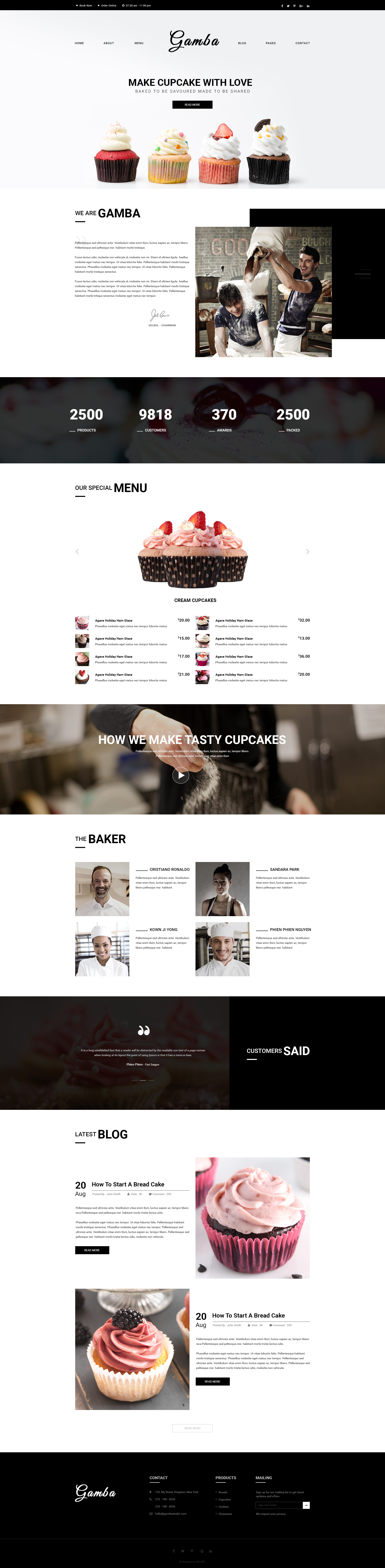 Gamba Bakery, Cakery, Pizza & Pastry Shop PSD Template by GambaThemes