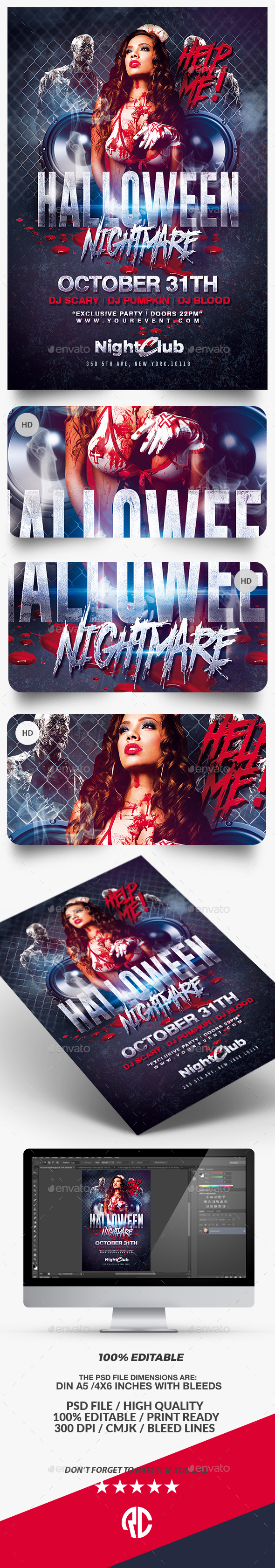 Halloween Nightmare Party   Flyer Template - Clubs & Parties Events
