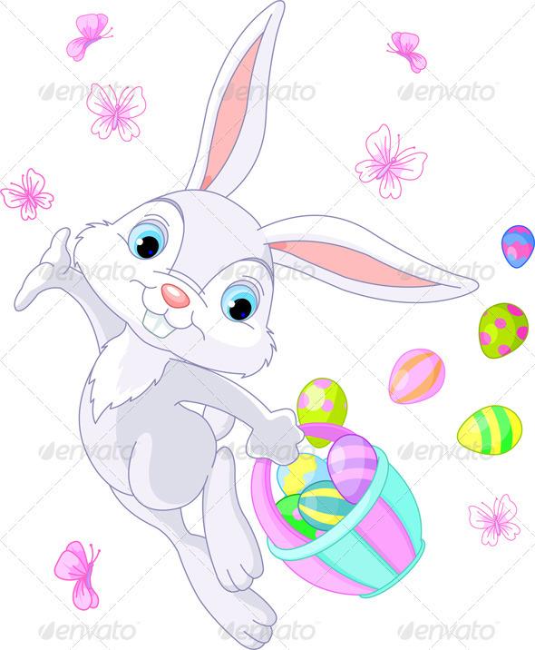 Easter Bunny Hiding Eggs - Religion Conceptual