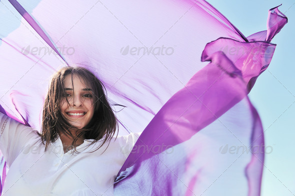 young woman enjoy on beach - Stock Photo - Images