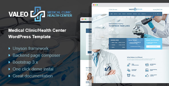 Valeo – health center, clinic & hospital WordPress Theme