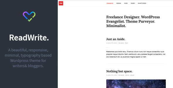 ReadWrite - Beautifully Minimal Writing / Blogging WordPress Theme