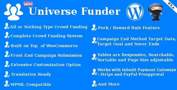 Universe Funder - WooCommerce Crowdfunding System - CodeCanyon Item for Sale