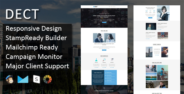 DECT - Multipurpose Responsive Email Template + Stampready Online Builder Access - Email Templates Marketing