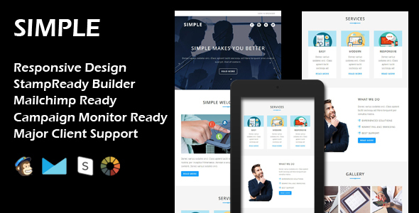 SIMPLE – Multipurpose Responsive Email Template + Stamp Ready Builder