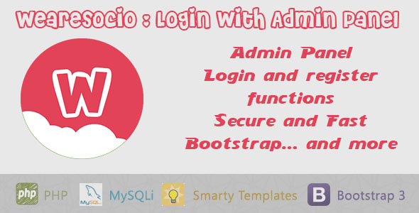 Wearesocio : login and register (Admin panel) - CodeCanyon Item for Sale