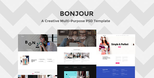 Bonjour - A Creative Multi-Purpose PSD Template - Creative PSD Templates