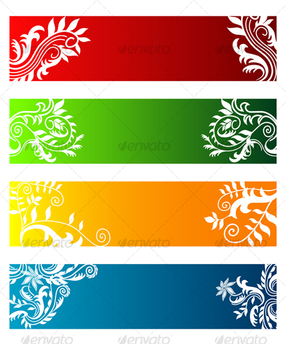 Colorful banners with flowers - Backgrounds Decorative