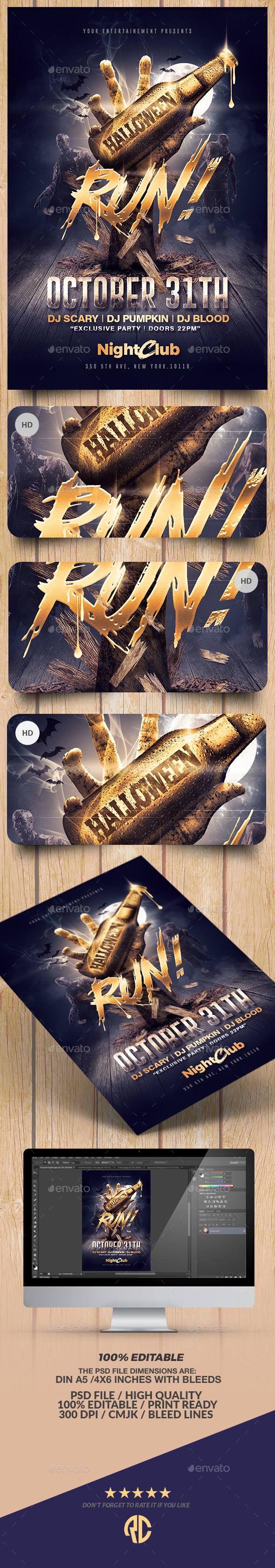Halloween Zombie Party | Gold Flyer Template - Clubs & Parties Events