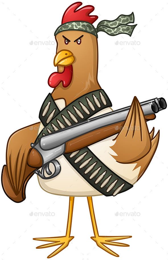 Chicken Fighter With A Shotgun - Animals Characters